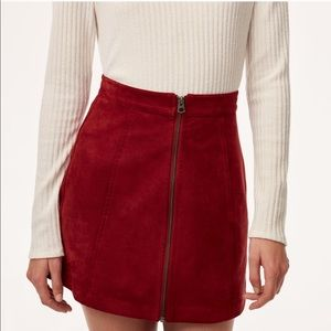 ARITZIA Wilfred Free Red Suede Mini Skirt, Size 2